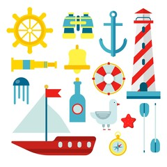 Marine nautical sailor symbols and vector flat icons set