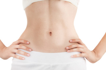 Slim Body of Young Woman with Perfect Work of Intestinal Motility