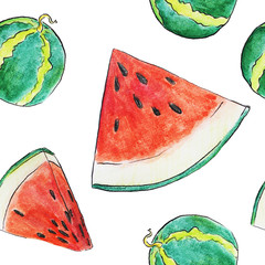 Watermelon seamless pattern watercolor illustration