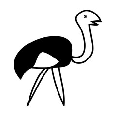 Abstract the ostrich on white background, vector symbol