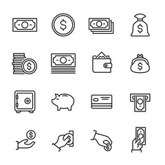Set of 16 money thin line icons.