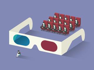 Through 3D glasses
