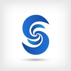 letter s vector logo design template, wave icon, spiral sign, curve symbol, vector illustration