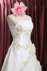 Wedding dress , bridal gown on puppet