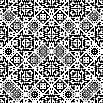 Seamless pattern latvian style. Black and white tilework. Monochrome baltic background. Textile geo print.