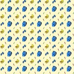 Seamless pattern of school supplies