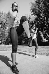 Females doing front kicks