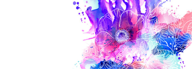 Obraz Hand drawn floral illustrations. Abstract pink, purple and blue watercolor blots spread on the white background with flowers branch and poppies. - fototapety do salonu