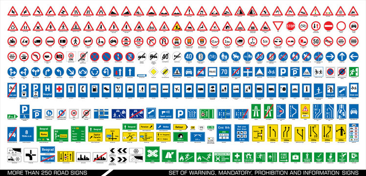 More than 250 road signs. Collection of warning, mandatory, prohibition and information traffic signs. European traffic signs collection. Vector illustration.