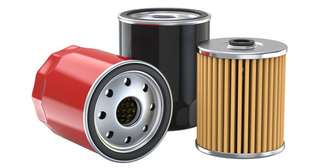 Three oil filter, 3d illustration, 3D render, isolated on white background