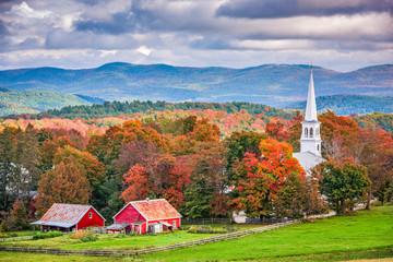 Peacham, Vermont, USA town landscape during autumn.