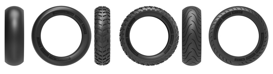 Front and side view of racing, road and off-road, motorcycle tires. 3d rendering, 3D illustration, isolated on white background