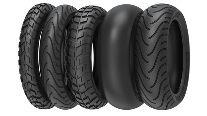 Motorcycle tyres ot tire tread. 3d illustration, 3D render, isolated on white background