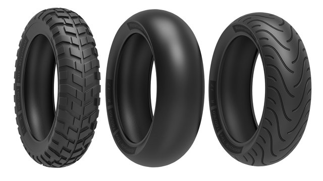 Racing, road and off-road, motorcycle tires. 3d rendering, 3D illustration, isolated on white background