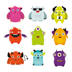 Group of cheerful illustrated monsters, illustration for children, merry, colorful monsters