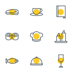 Vector Illustration Of 9 Cafe Icons. Editable Pack Of Tray, Seafood, Book And Other Elements.