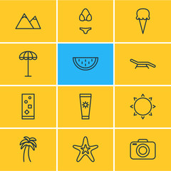 Vector Illustration Of 12 Season Icons. Editable Pack Of Sunny, Fish, Longue And Other Elements.