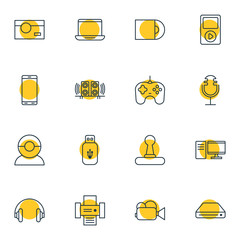 Vector Illustration Of 16 Hardware Icons. Editable Pack Of Photography, Computer, Sound Recording And Other Elements.