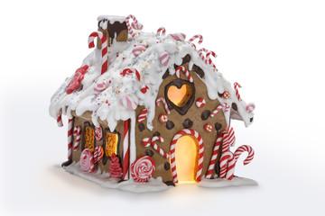 Lebkuchenhaus mit roten Zuckerstangen