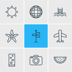 Vector Illustration Of 9 Season Icons. Editable Pack Of Photo Apparatus, Earth, Swimming And Other Elements.