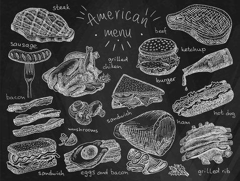 American menu, snack, ham, cheese, steak, hamburger, mushroom, bread, ribs, burger, fastfood, sandwich, grill, chicken, eggs, sausage, bacon, ketchup, fries on the chalkboard background