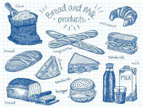 Bread and milk products on the notebook paper