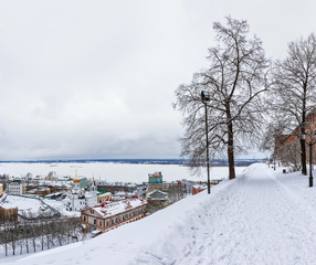 Kremlin is a fortress in the historic city center of Nizhny Novgorod in Russia. Winter.