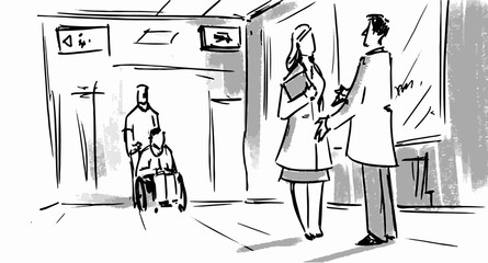 Hospital scene man and woman talking in the hall Vector sketch for cartoon, or storyboard projects