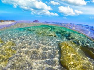 Split underwater view of Costa Rei shore