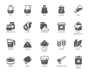 Set of 20 flat icons on cookery theme. Ingredients for cooking and kitchen accessories. Logo for various recipes, cookbooks, culinary sites, stores and other projects. Vector illustration