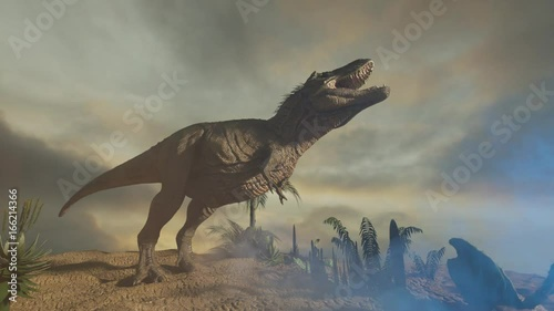 3D Illustration of silhouette of a tyrannosaur dinosaur in the sunset  render