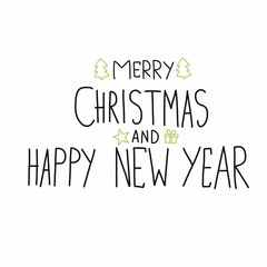 Merry Christmas and Happy New Year word handwriting vector illustration
