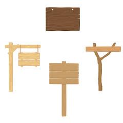Wood sing, board. Vector illustration.