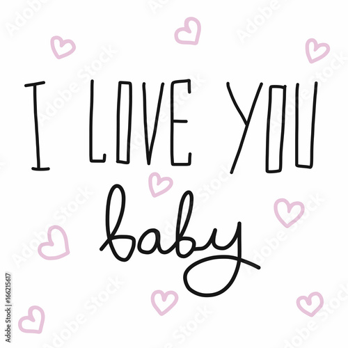 I Love You Baby Word Handwriting And Heart Vector Illustration