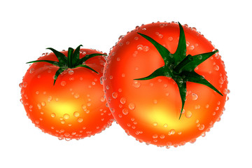 Two Red tomato covered with Raindrops. Foods and Dishes Series.