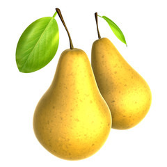 Two Fresh Beige color Pear. Foods and Dishes Series.