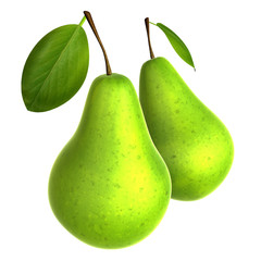 Two Fresh Yellow Green color Pear. Foods and Dishes Series.