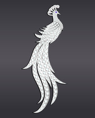 Illustration jewelry brooch peacock silver with precious stones.