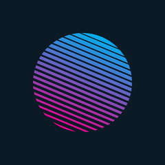 Vector 80s Retro Style Striped Shape. Minimalism Art Illustration