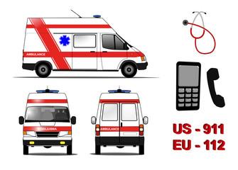 Emergency ambunlance car set