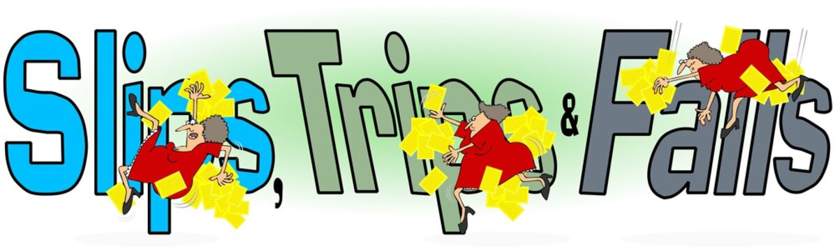 Illustration of the words, slips, trips and falls with a female worker in mirroring the actions.