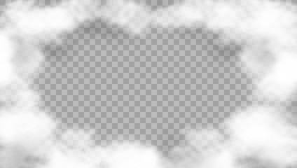 Realistic Cloud Frame On Transparent Background