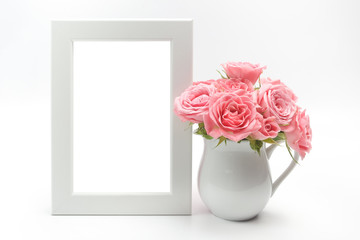 Home decoration, picture frame and cup with roses