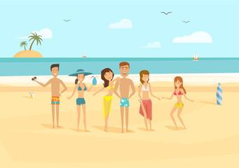 Beach characters flat illustration