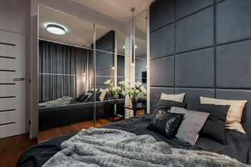 Contemporary bedroom with double bed