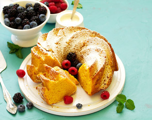 Pumpkin cake with fresh berries.