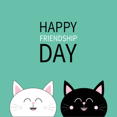 Happy Friendship Day. Black White Cat head icon. Cute funny cartoon character set. Friends forever. Greeting card. Kitty Whisker Baby pet collection Green background. Isolated. Flat design