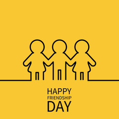 Happy Friendship Day. Two black woman female and one man male silhouette sign symbol. Boys girls holding hands line contour icon. Friends forever. Yellow background Flat design.