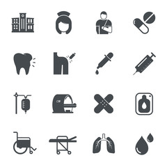 Hospital icons. Vector illustration.