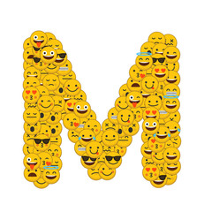 Emoji smiley characters capital letter M